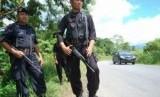 Pasukan Brimob yang sedang bertugas di Papua