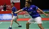 Pebulu tangkis ganda putra Indonesia Marcus Fernaldi Gideon (kanan) dan rekannya Kevin Sanjaya Sukamuljo. Kevin/Marcus ke final Indonesia Masters 2020 melawan Hendra Setiawan/Mohammad Ahsan.