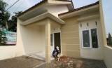 Pekerja menyelesaikan pembuatan rumah subsidi pemerintah program Sejuta Rumah Murah. ilustrasi