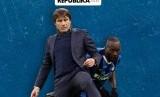 Pelatih Inter Milan Antonio Conte dan striker andalannya, Romelu Lukaku.