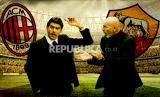 Pelatih Stefano Pioli (kanan) akan mendampingi timnya AC Milan menghadapi Roma yang diasuh Paolo Fonseca.