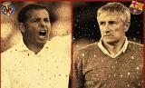 Pelatih Villarreal Javier Calleja (kiri) dan Pelatih Barcelona Quique Setien