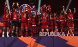 Para pemain Liverpool saat merayakan  juara Liga Primer Inggris musim ini.