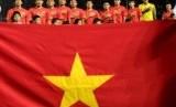 Pemain timnas U23 Vietnam menyanyikan lagu kebangsaannya. Lagu kebangsaan Vietnam akan diperdengarkan pada penutupan SEA Games 2019 Filipina.