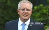 Perdana Menteri Australia Scott Morrison berbicara kepada media saat konferensi pers di Kirribilli House di Sydney, Australia, Jumat (15/3).