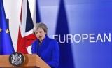 Perdana Menteri Inggris Theresa May berbicara selama konferensi pers di akhir KTT Uni Eropa di Brussels, Ahad (25/11) waktu setempat. Pemimpin negara Uni Eropa berkumpul untuk menyepakati perpisahan blok tersebut dengan Inggris pada tahun depan.