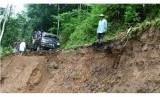 Pergerakan tanah yang mengakibatkan longsor di Kabupaten Kuningan (ilustrasi).