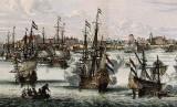 Pertempuran antara armada VOC dengan armada Inggris.