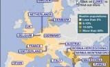 Peta Muslim negara-negara di Eropa