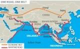Peta one belt one road, obor yang merupakan jalur sutra baru dinisiasi Cina