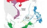 Peta wilayah perairan Laut China Selatan yang diklaim Brunei, China, Malaysia, Filipina dan Vietnam.