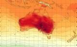 Peta yang menunjukkan tingkat panas di Australia.