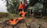 Petugas BPBD bersama warga mengamati api dari semburan gas yang muncul di permukiman di desa Sukaperna, Kecamatan Tukdana, Indramayu, Jawa Barat, Sabtu (30/12).