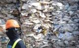 Petugas melewati kontainer berisi sampah plastik di Malaysia (ilustrasi). Malaysia mengembalikan 43 kontainer berisi sampah plastik ke Prancis.