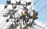 Petugas PLN melakukan perbaikan jaringan listrik di Palu, Sulawesi Tengah, Jumat (12/10).