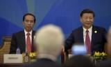 Presiden Joko Widodo (kiri) besama Presiden China Xi Jinping (kanan) saat melakukan dialog antara Pimpinan negara ekonomi dengan APEC Business Advisory Council (ABAC) di Da Nang, Vietnam, Jumat (10/11).
