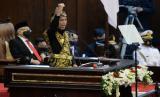 Presiden Joko Widodo menyampaikan pidato pada sidang tahunan MPR dan Sidang Bersama DPR-DPD di Komplek Parlemen, Senayan, Jakarta, Jumat (14/8).