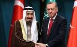 Raja Arab Saudi Salman bin Abdul Aziz dan Presiden Turki Recep Tayyip Erdogan.
