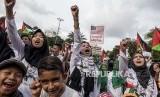 Indonesia: Palestina Harus Selesai dengan Solusi Dua Negara. Demonstrasi mendukung Palestina di Jakarta (ilustrasi).