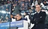Reaksi pelatih Juventus, Massimiliano Allegri pada laga Liga Champions lawan Dinamo Zagreb, di stadion Juventus, Kamis (8/12) dini hari WIB. Juventus menang 2-0.