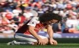 Reaksi pemain Arsenal Matteo Guendouzi dalam pertandingan melawan Crystal Palace di Emirates Stadium di London