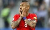Reaksi pemain Cile, Arturo Vidal pada laga final Piala Konfederasi 2017 lawan Jerman di Moskow, Senin (3/7) dini hari WIB. Cile kalah 0-1 pada laga ini.