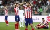 Reaksi tim Atletico Madrid pada laga final Piala Super Cup Spanyol di King Abdullah Sport City, Jeddah, Senin (13/1) dini hari.