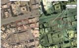 Sebuah foto hasil pandangan satelit mengenai bangunan sebelum (Kiri, 13 Mei 2017) dan setelah (kanan, 29 Mei 2017) serangan udara di Raqqa, Suriah. Foto ini dirilis oleh Kementerian Pertahanan Rusia pada 16 Juni 2017.