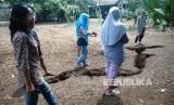 Sejumlah warga melihat tanah yang berbelah di Kampung Pedurenan Cimanggis Depok, Jawa Barat, Minggu (21/10/2018).