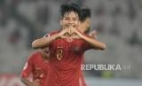 Selebrasi gelandang timnas Indonesia U-19 Witan Sulaiman.