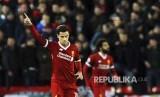 Selebrasi Philippe Coutinho pada laga antara Liverpool melawan Spartak Moskow di Anfield, Liverpool, Inggris.