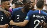 Selebrasi tim Prancis usai menjebol gawang Argentina di Piala Dunia 2018, Rusia