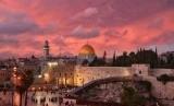 Senja merah di Masjidil Aqsa Yerusalem.