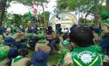 Serombongan siswa mengikuti kegiatan sosialisasi antinarkoba di Taman Kebun Bibit 2 Wonorejo, Surabay. (ilustrasi)