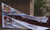 Spanduk Pasangan Calon Wali Kota di Sukabumi Dirusak