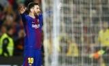 Striker Barcelona, Lionel Messi merayakan gol ke gawang Leganes pada laga La Liga di Camp Nou, Ahad (8/4) dini hari WIB.