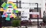Suasan jelang gelaran Asian Games 2018 di kawasan Kota Tua, Jakarta