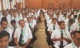 Suasana pembekalan petugas haji Arab Saudi di Asrama Haji Pondok Gede Jakarta, Rabu (24/4)