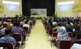 Suasana Syawalan usai Hari Raya Idul Fitri 1440 Hijriah yang  digelar UIN Sunan Kalijaga Yogyakarta di Gedung Amin Abdullah UIN, Rabu  (12/6).