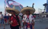 Suporter timnas Meksiko yang menarik perhatian.