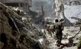 Suasana kota di Suriah yang hancur akibat perang saudara yang melanda negara tersebut.