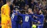 Tim Chelsea merayakan gol pada pertandingan Grup L Liga Europa antara Chelsea melwan Vidi FC di Stamford Bridge Stadium, London, Jumat (5) dini hari.
