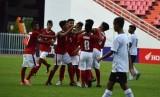 Pada pemain timnas Indonesia U-16 saat merayakan gol ke gawang Timor Leste U-16 pada laga kualifikasi Piala Asia U-16. Besok timnas U-16 akan melakoni laga terakhir Grup G lawan Laos.