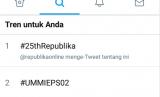 Ulang tahun Republika yang ke 25 Tahun menjadi trending topic di Twitter, Kamis (4/1).