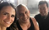 Vin Diesel saat siaran langsung di Facebook bersama pemain Fast and Furious 9, Jordana Brewster dan Justin Lin. Kecelakaan terjadi di lokasi syuting Fast 9 pada Senin (22/7).