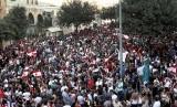 Warga Lebanon berunjuk rasa di Kota Beirut, Lebanon, ilustrasi