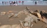 WISATA BATU MALIN KUNDANG. Pengunjung bermain di sekitar Batu Malin Kundang, di Pantai Air Manis, Padang, Sumbar.